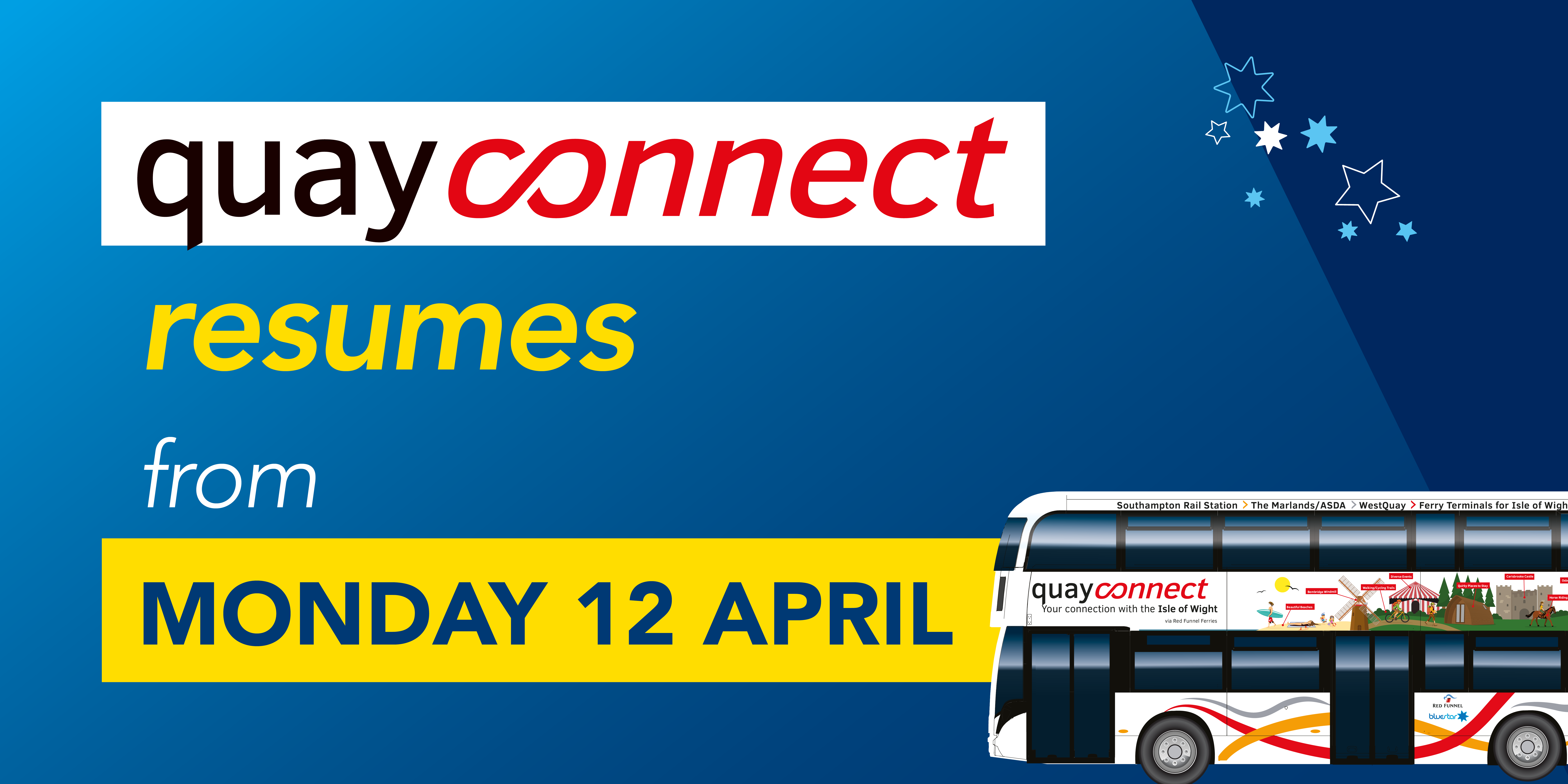 Image of a Quay Connect bus with text reading 'quayconnect resumes from Monday 12th April'