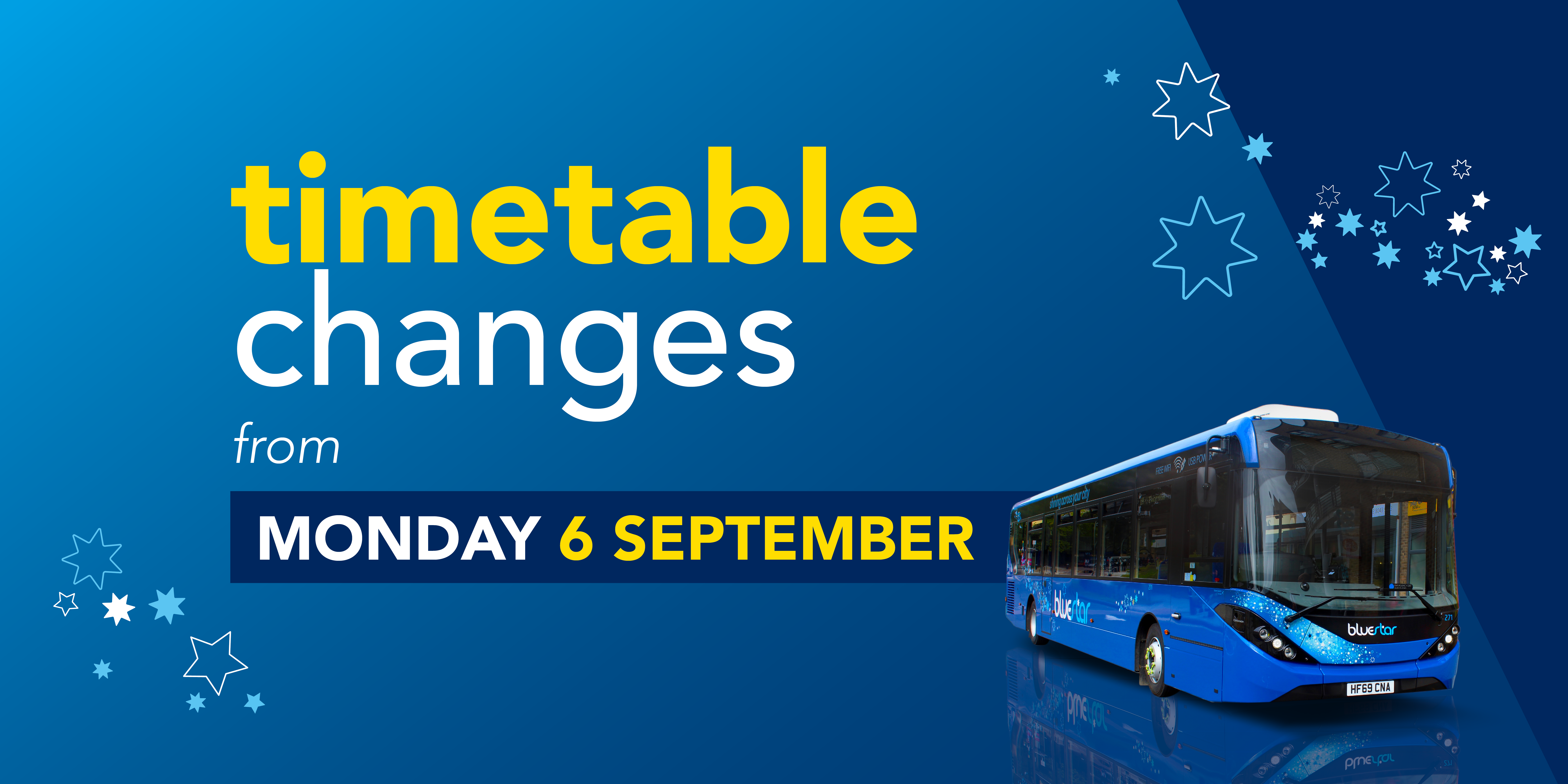 timetable changes from monday 6 september