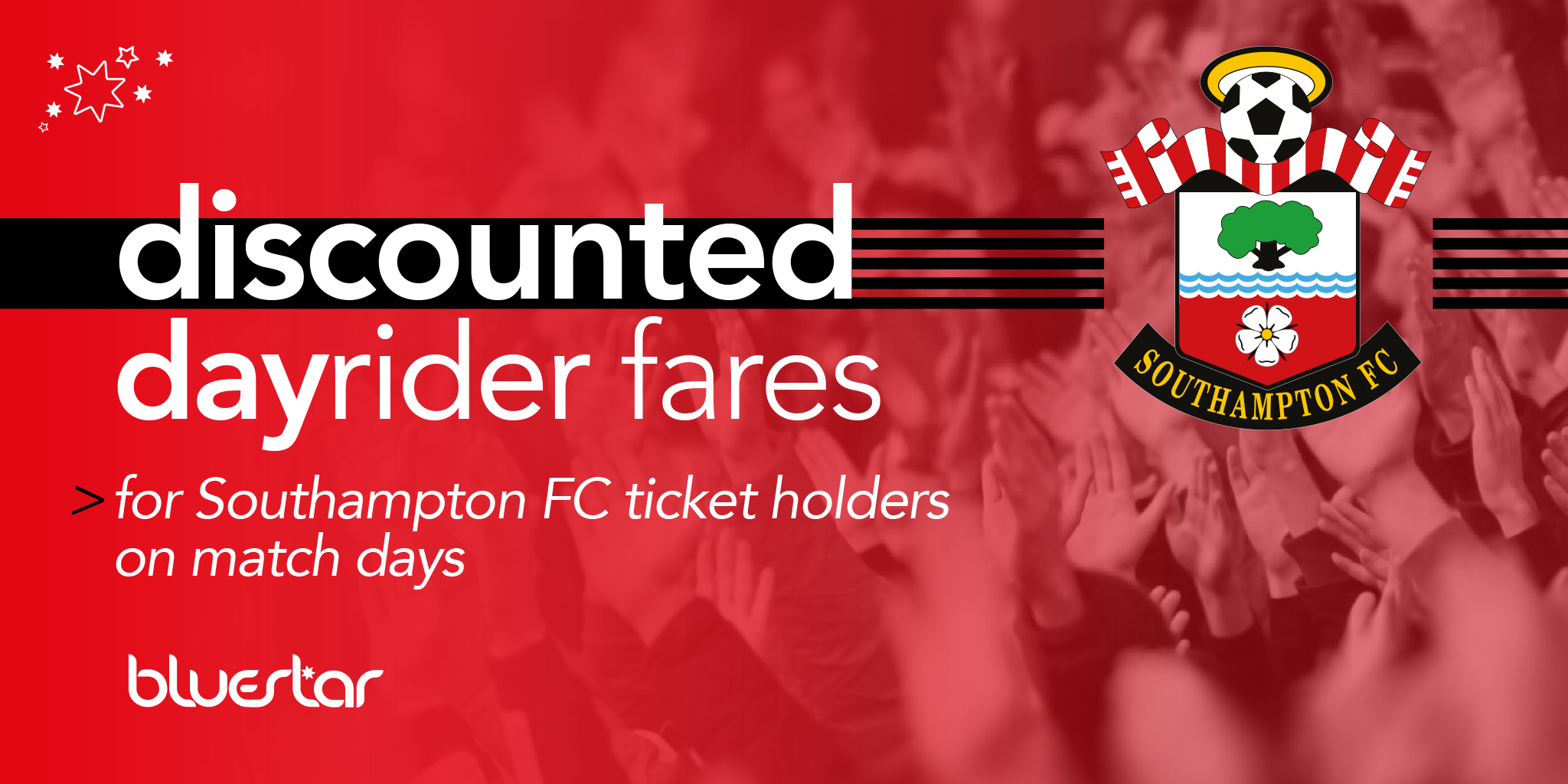 discounted dayrider fares for southampton fc ticket holders on match days