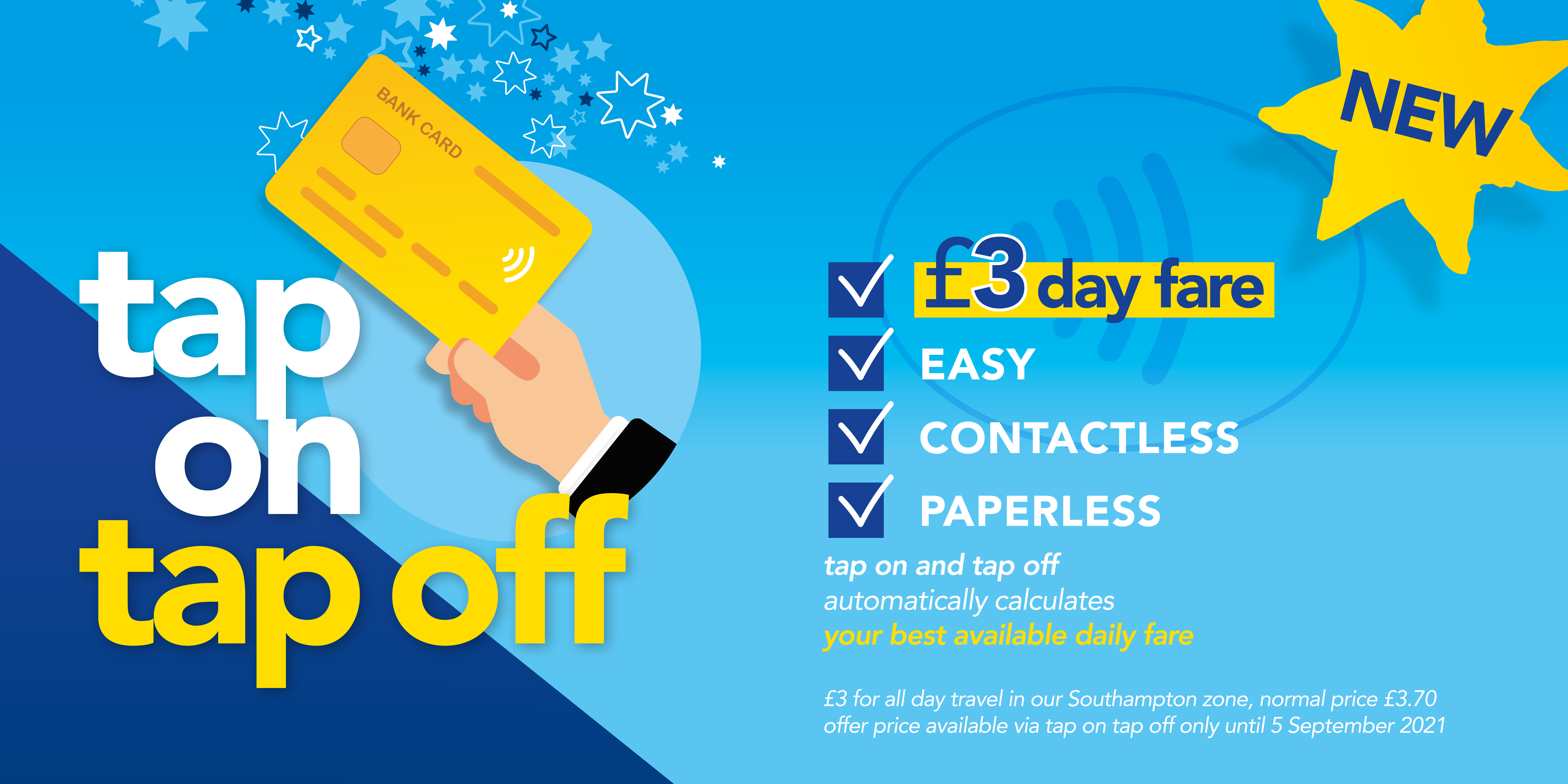 a promotional poster for tap on tap off with the £3 day fare offer