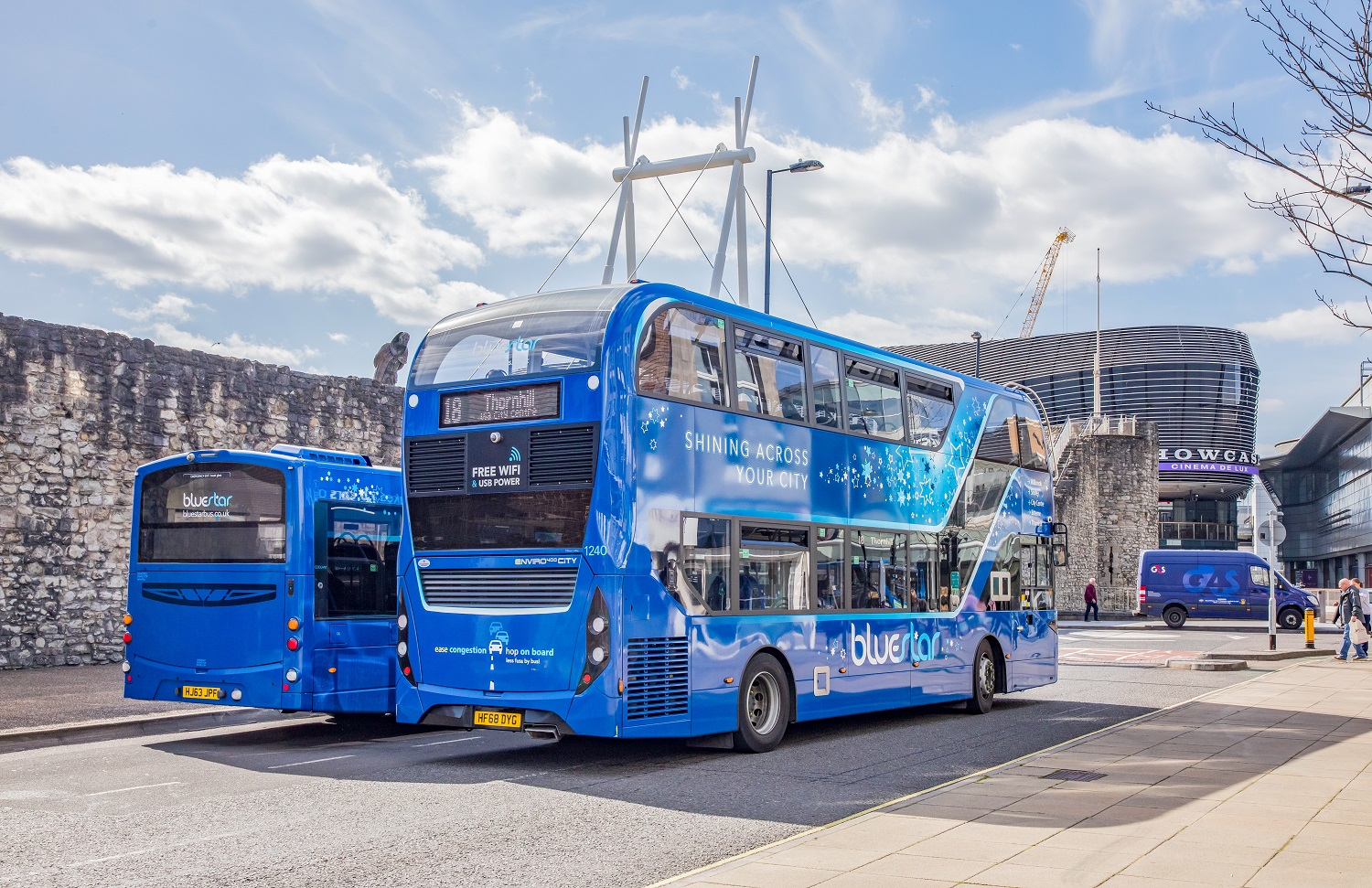 Photo of two bluestar buses parked up by Westquay