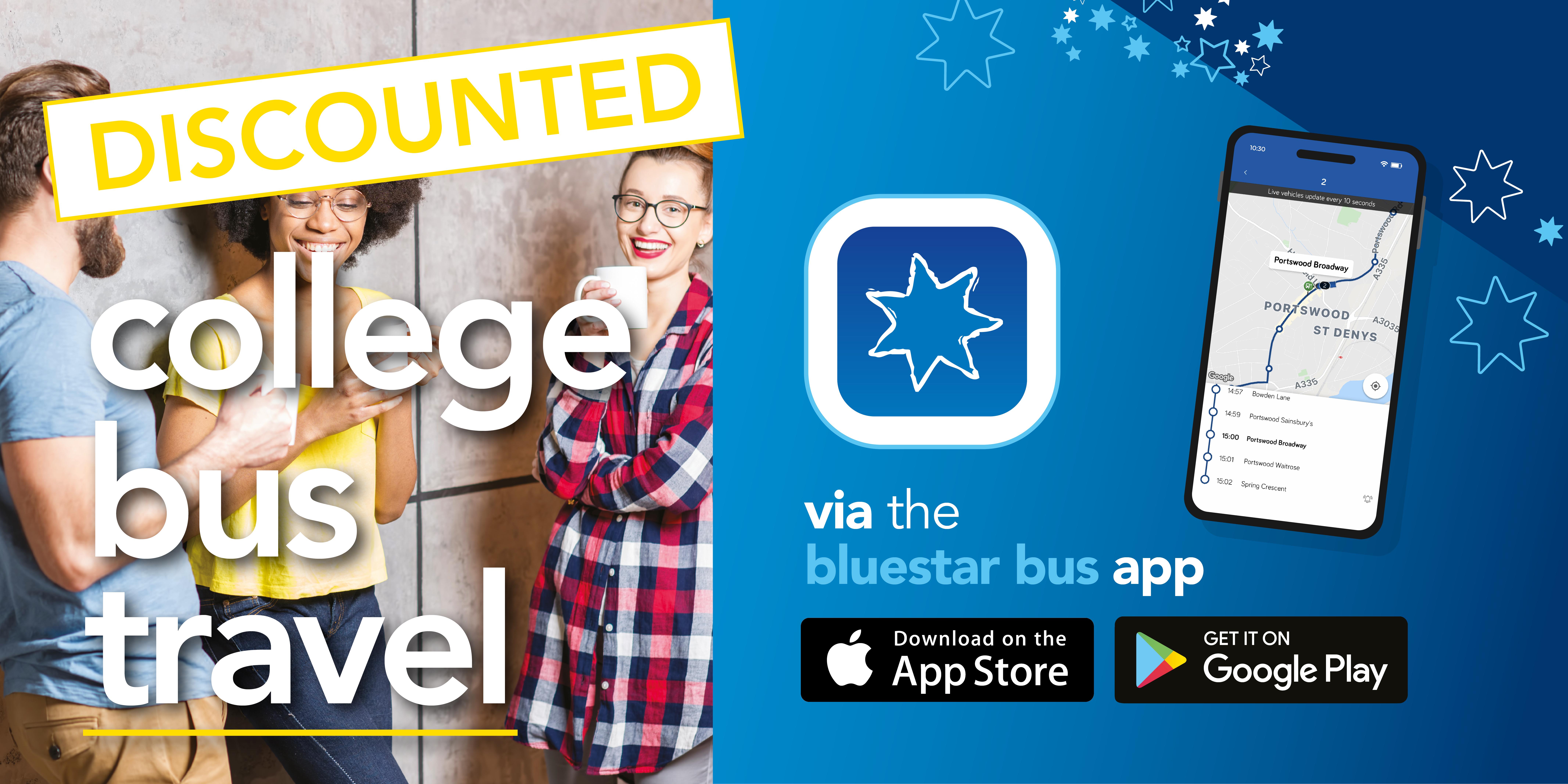 discounted college bus travel via the bluestar bus app