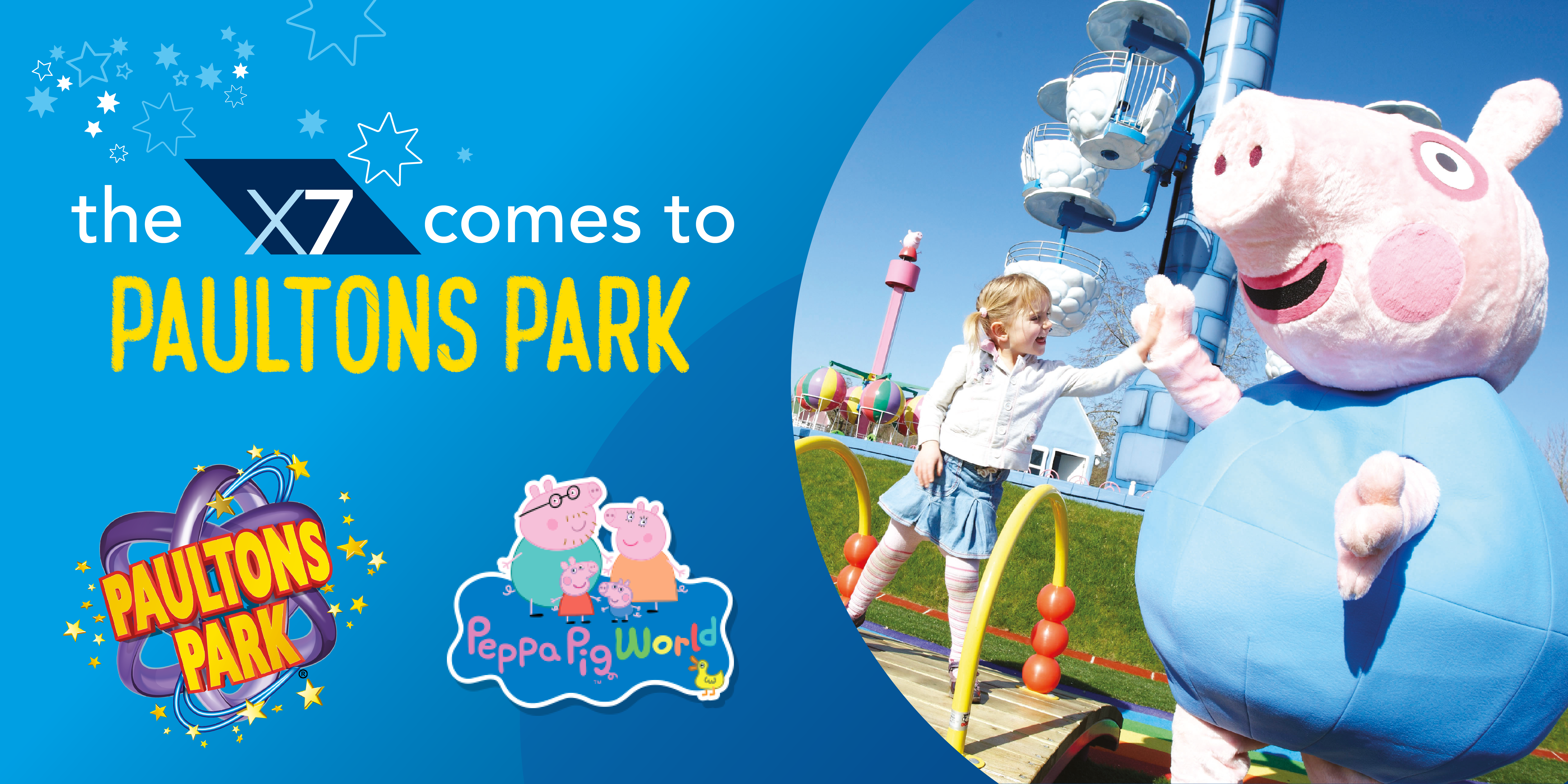 the x7 comes to paultons park with logos and image of george the pig