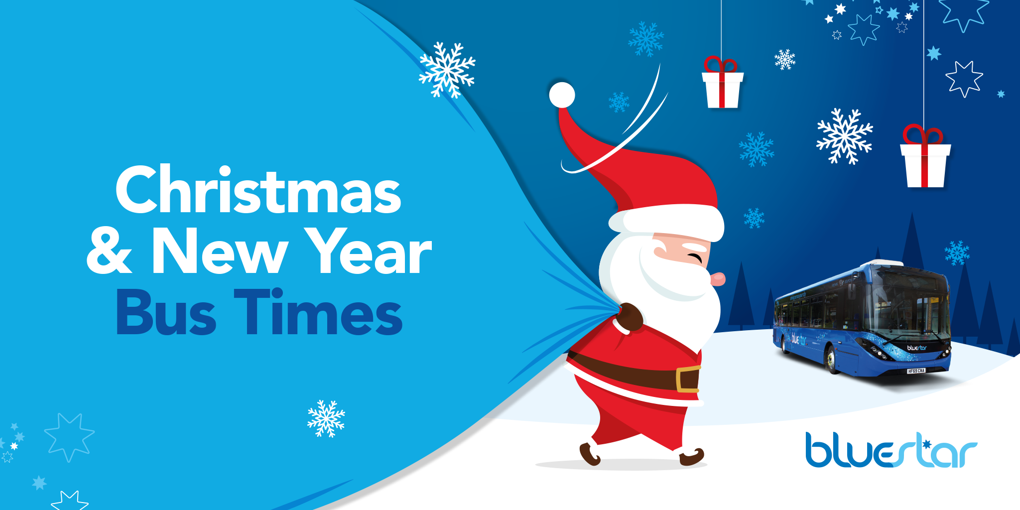 Image of Santa pulling a sack next to a Bluestar bus with text reading 'Christmas & New Year Bus Times'