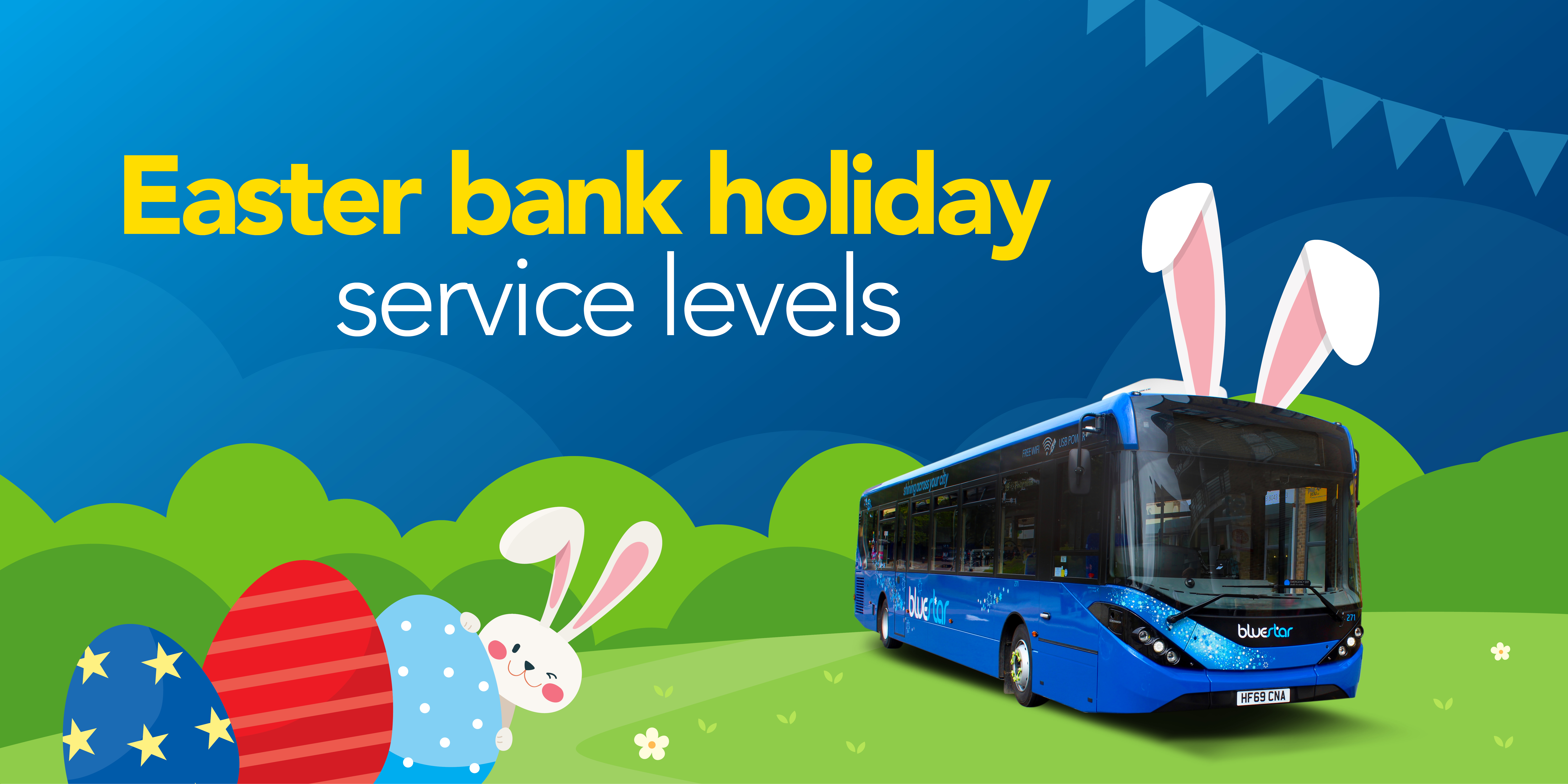 Image of a bluestar bus with text reading 'Easter bank holiday service levels'