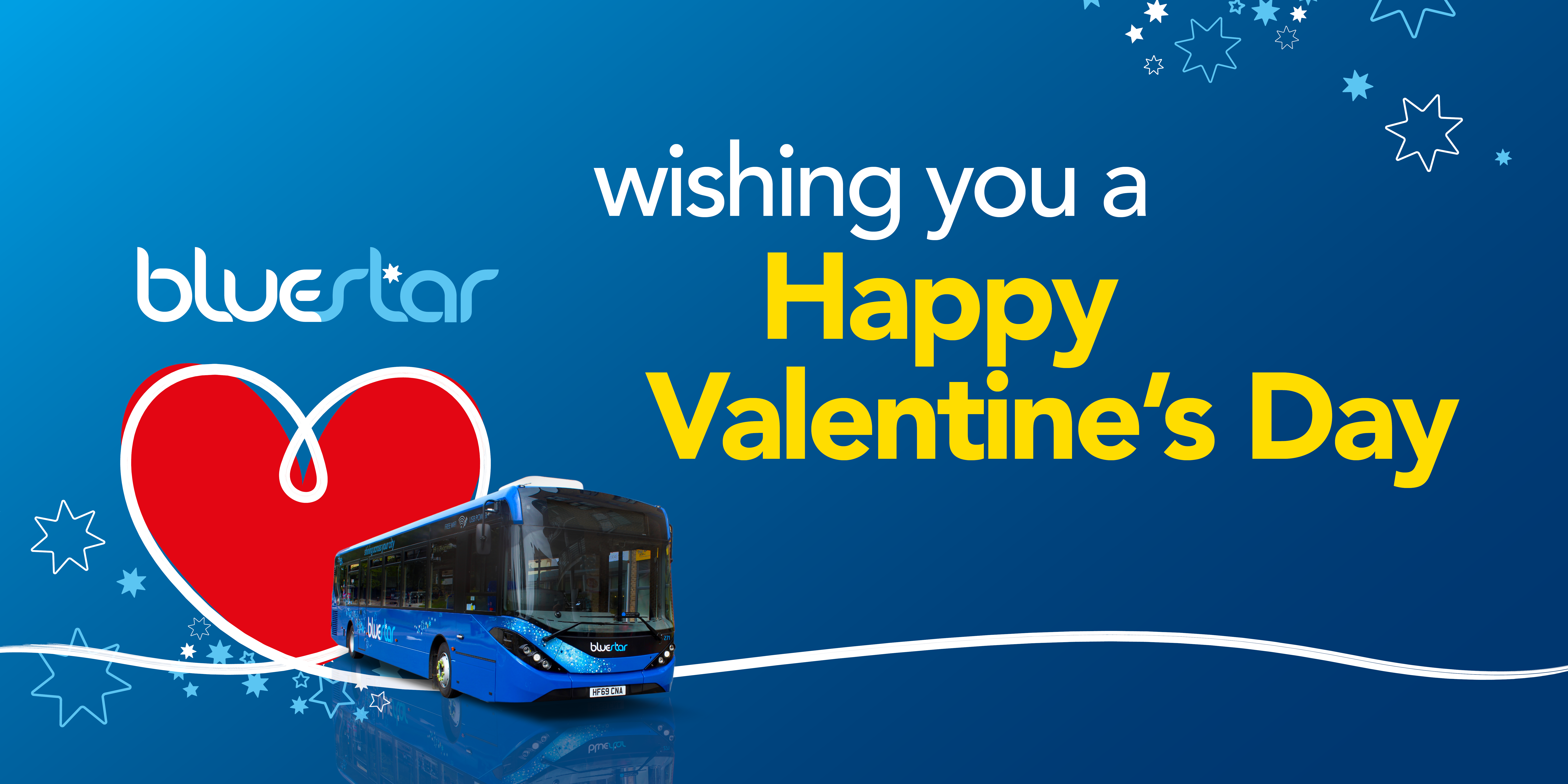Image of a bluestar bus with text reading 'wishing you a happy valentine's day'